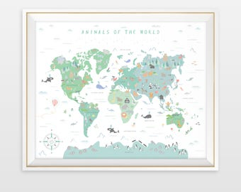 Animal world map etsy animal world map world map nursery art my first map map of the gumiabroncs Image collections