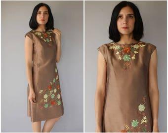 1960s Silk Cocktail Dress | 60s Dress | 60s Cocktail Dress | Embroidered 1960s Dress | 60s Party Dress | 1960s Shift - (medium)