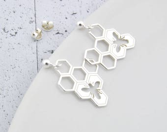 Sterling Silver honeycomb Earrings, Small honeycomb, honeycomb Stud, Stud Earrings, Little Silver, honey comb, bee