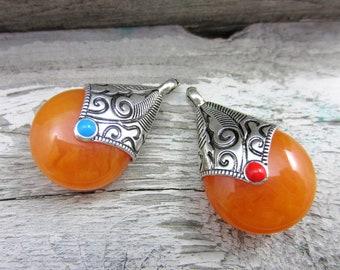 2 Faux amber pendants tribal jewelry supply teardrop pendants spiritual jewelry nepal beads HP02A (Q4)