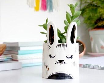 Rabbit Planter, Desk Planter, Cute Planter,  Animal Planter, Rabbit Decor, Cute Ceramic Animal, Mini Planter, Succulent Planter, Cactus Pot