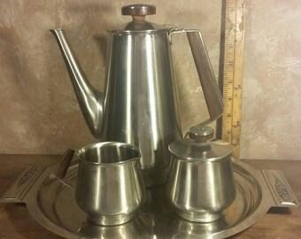 Mid-century International Decorator Stainless Tea Set