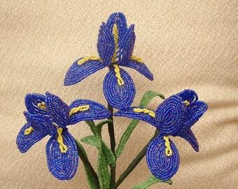 3 Handmade Dark Blue/ Purple Iris's .. French Beaded Flowers