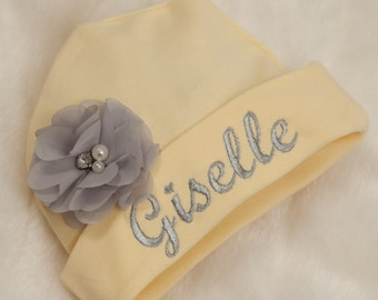 Yellow Embroidered Infant Baby Girl Hat Cotton Personalized Baby Girl Hat