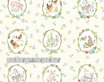 Farm Animal Fabric, Farm Quilt Fabric, Red Rooster Fabric Country Days 26621, Heidi Boyd, Wreathed Pigs, Sheep, Horses, Rabbit, Goat, Cotton