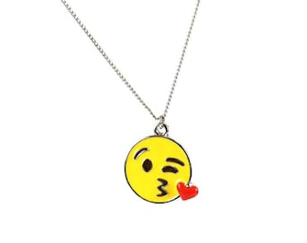 Kissing Heart Wink Enamel Emote Face Charm Necklace