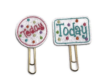 Choice of Today glitter vinyl planner paperclip, Round or Rectangular Today bookmark, Today vinyl paperclip, Planner paperclip accessories