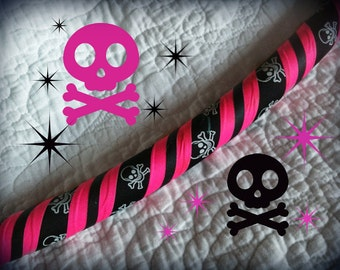 Pink Pirate Dance & Exercise Hula Hoop COLLAPSIBLE or Push Button -jolly roger neon pink black fluorescent