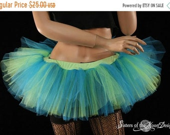 SALE Mini micro tutu skirt neon Turquoise blue - Ready to ship - M/L - dance roller derby gogo dancer race run teen cybergoth rave club Sotm