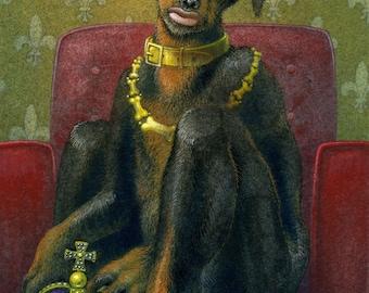 """Original surreal painting: """"The Dog King"""" - half doberman pinscher, half human. Weird dog art by Nancy Farmer, in watercolour (unframed)"""