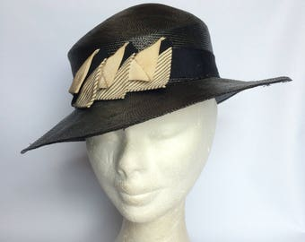 1930's Reslaw Blue, Black and Cream Straw Hat with Grosgrain Trim