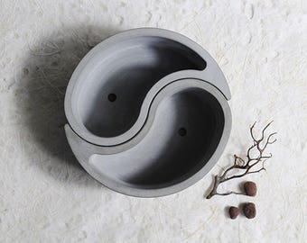 Diy CONCRETE SILICONE MOLD Cement Mould Pot Plant Ying Yang Geometric Home Business Market Clay Pottery Resin Casting