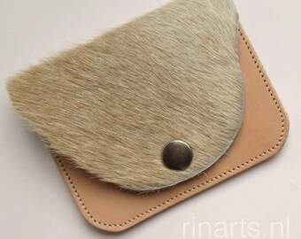Purse / slim wallet / coin case in beige  cow hair on hide and natural Italian veg tanned leather. Gift under 25.