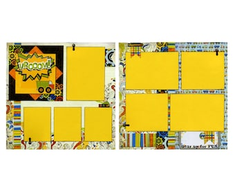 Vrooom! Gear Up For Fun - Premade Scrapbook Page Set