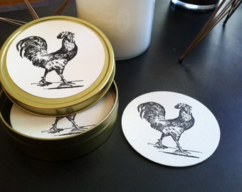 Naughty or Nature? Letterpress coasters and tin.