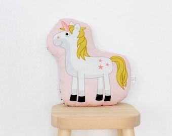 unicorn - Happy Hopsasa - plush stuffed animal pillow kids room nursery