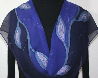 Periwinkle & Dark Purple Hand Painted Silk Scarf MYSTIC NIGHT Silk Scarf, in 3 SIZES. Birthday Gift, Anniversary Gift, Mother Day Gift