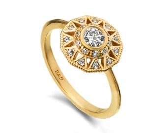 Unique Geometric Engagement ring, Halo diamond engagement ring, promise ring, diamond statement ring , unique diamond ring , double halo