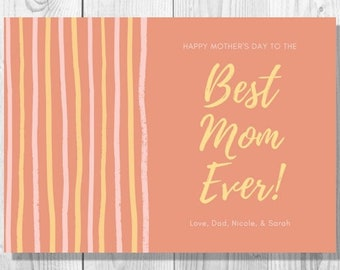 Orange Stripes Mother's Day Card - Printable