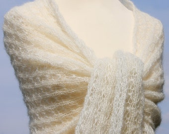 wedding shawl, bridal shawl, handknit, knitted shawl,  kid-mohair / silk, ivory, lace