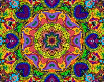 Colorful Fantasy - Highly Detailed Kaleidoscope - Digital Download - For Print or Web @150dpi