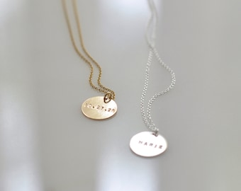 Personalized charm necklace etsy engraved gold coin necklace personalized charm necklace custom hand stamped jewelry round pendant gold filled layering necklace aloadofball Choice Image