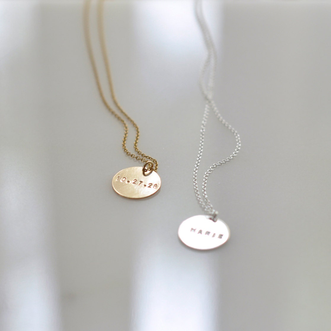 Engraved gold coin necklace personalized charm necklace zoom aloadofball Image collections