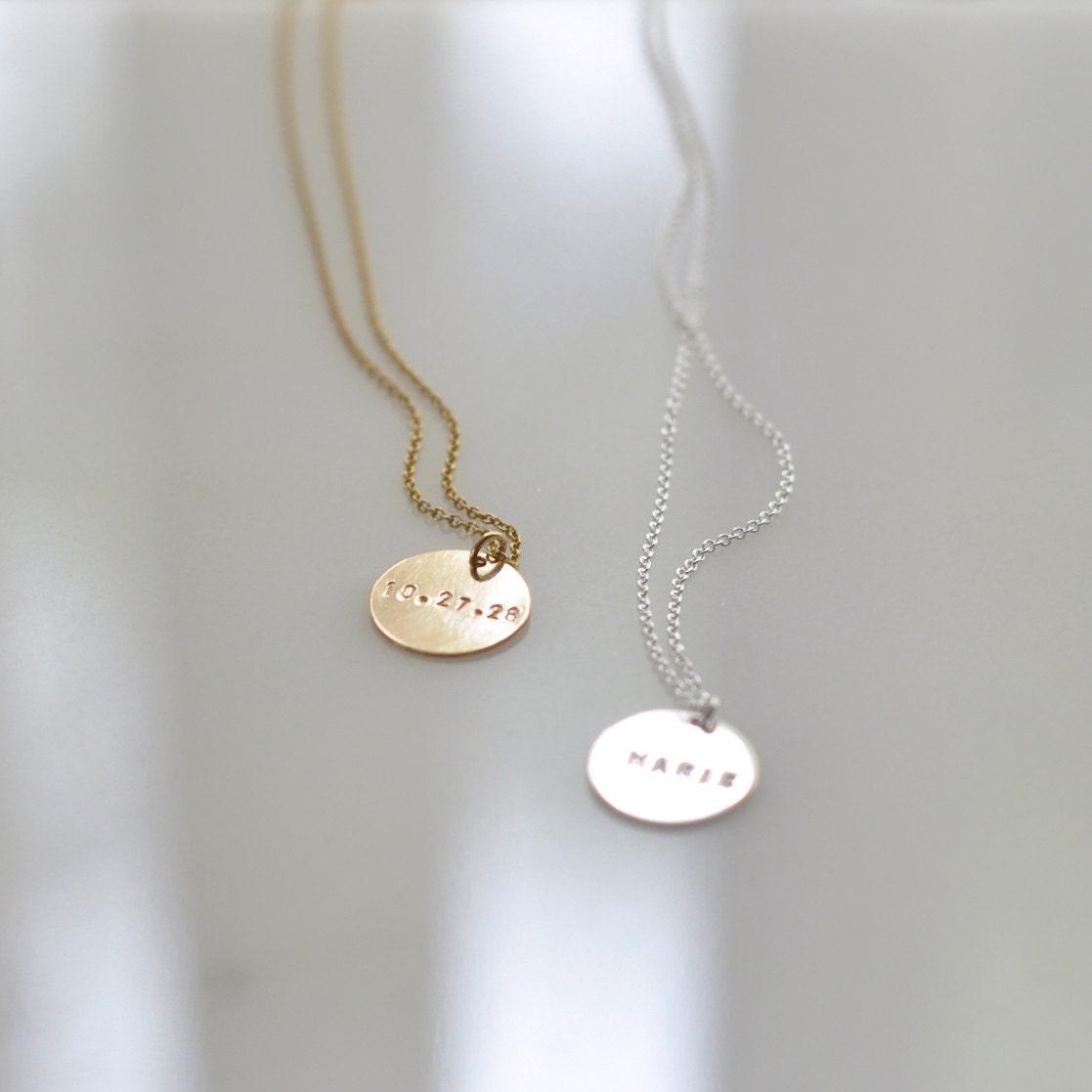 Gravierte Gold Coin Kette personalisierte Charm Halskette