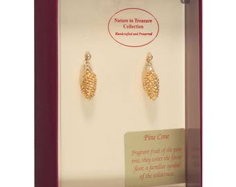 Real Pine Cones Dipped In 24k Gold - Post Dangles Earrings - 24k Gold Electroplated - Boxed