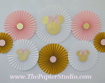 Pink and Gold Minnie Mouse, Set of 8 (eight) Paper Rosettes