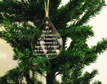 Bauble Christmas Decoration TeardropQuote 3mm Acrylic Perspex®