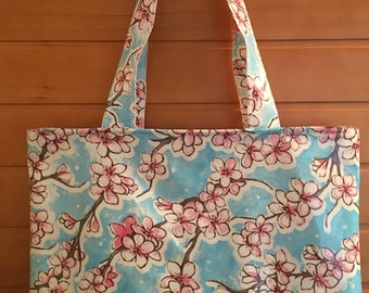 Vinyl Floral Tote Bag