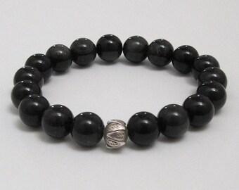 Mens Inspirational Jewelry, Lotus Obsidian Beaded Bracelet, Chakras Healing Crystals Worry Beads Mala Bracelet, Mindfulness Meaningful Gifts