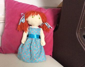 red hair, green hair, white skin, fabric ragdoll