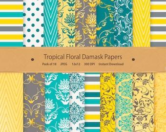 Floral Damask Digital Paper Tropical Patterns Floral Scrapbooking Wedding Invite Spring Crafting Cardmaking Yellow Green Blue Flower Art