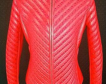 The Serpent Red- Women's leather&neoprene jacket by Pentagram
