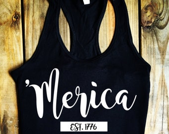 USA! 4th of July! Merica! Heat Press - Glitter Sparkle - Adult Womens Tank Tops or T Shirts - Missy Fit