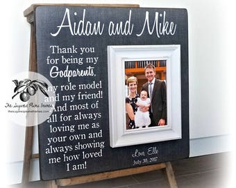Godmother Gift, Godfather Gift, Godparent Gift, Baptism Gift for Godparents, Baptism Gift, Christening Gift, Godparent Frame 16x16