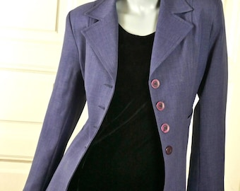Vintage Blazer, Light Slate Blue 1990s British Jacket, Women's Smart Blazer, Professional Jacket, Made in England: 6/8 US, Size 10/12 UK