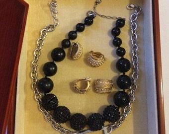 Job viel Swarovski Halskette & Ohrringe, einschließlich Vintage Gold geflochten Brutto-Clip auf Ohrringe, Weihnachtsgeschenk-Idee