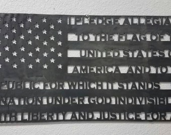 Metal American Flag, Pledge of Allegiance, Patriotic Gift, 4th of July, Veteran Gift
