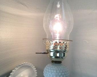 Vintage milk glass hobnail wall sconce, hobnail lamp