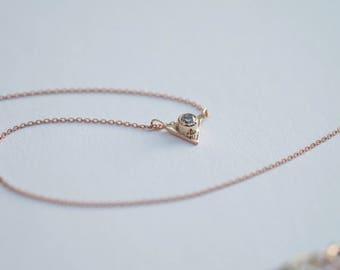 9ct yellow gold diamond triangle pendant