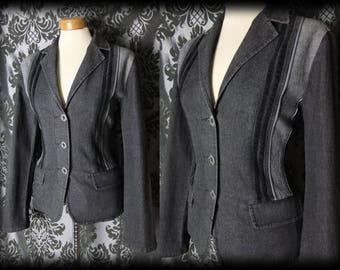 Goth Grey Panel Detail Fitted DESOLATE Jacket 12 14 Victorian Vintage Steampunk