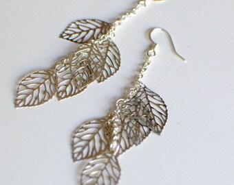 Falling Silver Leaves cluster earrings