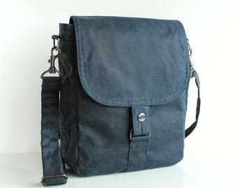 Waxed canvas tablet messenger, waxed canvas bag, blue bag, waxed bag, unisex pouch, mens, crossbody bag - The Navy Tablet Messenger