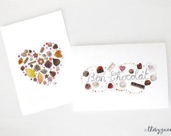 Chocolate watercolor card, Sweets greeting card, Cute heart, Heart love, Chocolate lover, Birthday card, Chocolate stationery, Sweets card