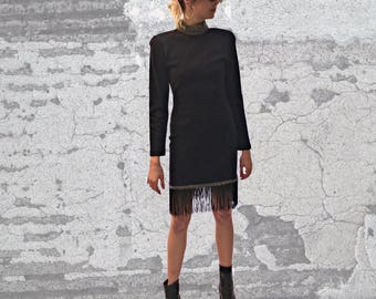 Vintage 1980s - LILLIE RUBIN EXCLUSIVE - Black Dress with Crystal Detail and Fringe - Size Small
