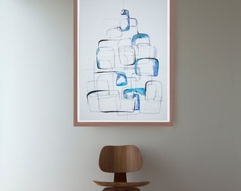 Original large size drawing on paper - Blue art painting modern minimal linear structure stones nature river fall by Cristina Ripper