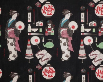 Black Geisha Coterie Print Pure Cotton Fabric from Alexander Henry--One Yard